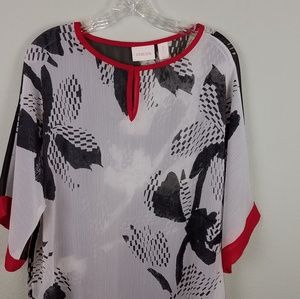 Chico's Sheer Top Size 2 (12/14) Black/Red/White